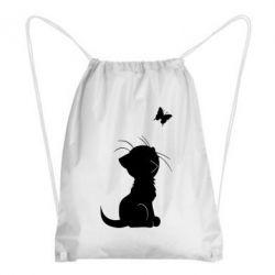 Рюкзак-мешок Котик с бабочкой - FatLine