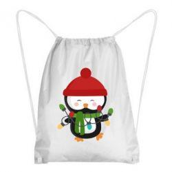 Рюкзак-мешок Пингвин с гирляндой - FatLine