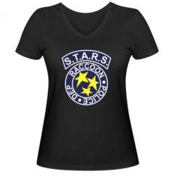 Женская футболка с V-образным вырезом S.T.A.R.S. police dep