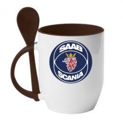 Кружка с керамической ложкой SAAB Scania