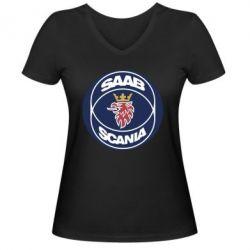 Женская футболка с V-образным вырезом SAAB Scania