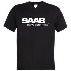 Мужская футболка  с V-образным вырезом SAAB - FatLine