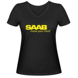 Женская футболка с V-образным вырезом SAAB