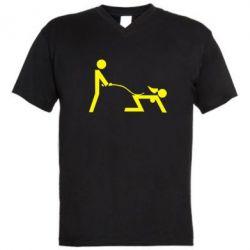 Мужская футболка  с V-образным вырезом Садо-мазо - FatLine