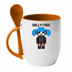 Кружка з керамічною ложкою Sally face pixel