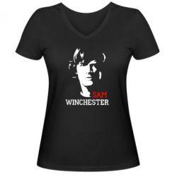 Женская футболка с V-образным вырезом Sam Winchester - FatLine