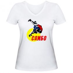 Женская футболка с V-образным вырезом Sambo - FatLine