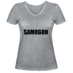 Женская футболка с V-образным вырезом Samogon 1
