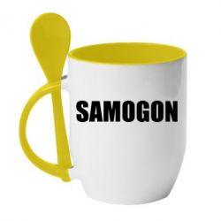 Купить Кружка с керамической ложкой Samogon 1, FatLine