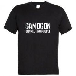 Чоловіча футболка з V-подібним вирізом Samogon connecting people