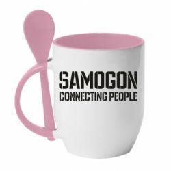Кружка з керамічною ложкою Samogon connecting people