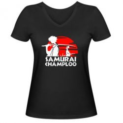 Женская футболка с V-образным вырезом Samurai Champloo - FatLine