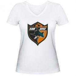 Женская футболка с V-образным вырезом San Jose Sharks - FatLine
