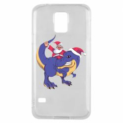 Чехол для Samsung S5 Santa and T-Rex