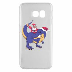 Чехол для Samsung S6 EDGE Santa and T-Rex