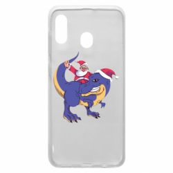 Чехол для Samsung A20 Santa and T-Rex