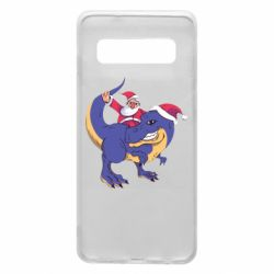 Чехол для Samsung S10 Santa and T-Rex