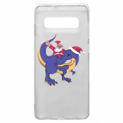 Чехол для Samsung S10+ Santa and T-Rex
