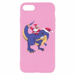 Чехол для iPhone 8 Santa and T-Rex