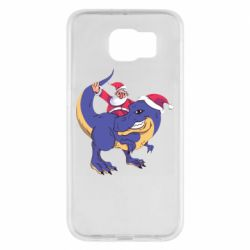 Чехол для Samsung S6 Santa and T-Rex