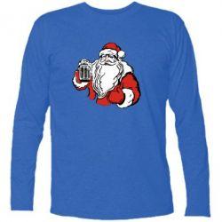 Футболка с длинным рукавом Santa Claus with beer