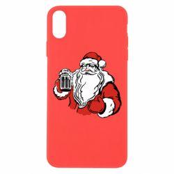 Чехол для iPhone Xs Max Santa Claus with beer