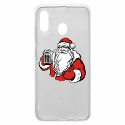 Чехол для Samsung A20 Santa Claus with beer