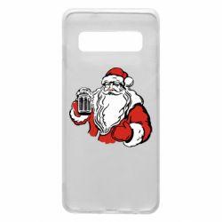 Чехол для Samsung S10 Santa Claus with beer
