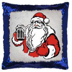 Подушка-хамелеон Santa Claus with beer