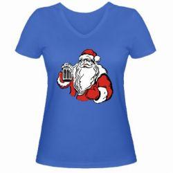 Женская футболка с V-образным вырезом Santa Claus with beer