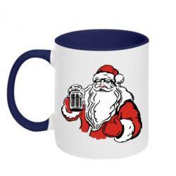 Кружка двухцветная 320ml Santa Claus with beer