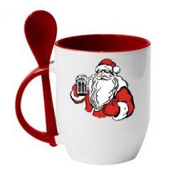 Кружка с керамической ложкой Santa Claus with beer