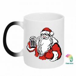 Кружка-хамелеон Santa Claus with beer