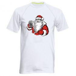 Мужская спортивная футболка Santa Claus with beer