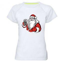 Женская спортивная футболка Santa Claus with beer