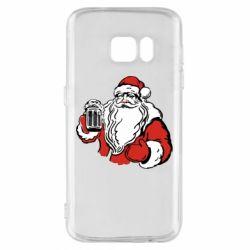 Чехол для Samsung S7 Santa Claus with beer