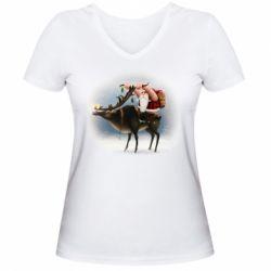 Жіноча футболка з V-подібним вирізом Santa in tattoos riding a deer