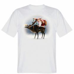 Чоловіча футболка Santa in tattoos riding a deer