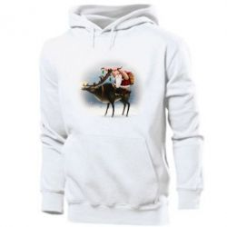 Чоловіча толстовка Santa in tattoos riding a deer