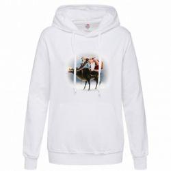 Толстовка жіноча Santa in tattoos riding a deer