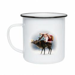 Кружка емальована Santa in tattoos riding a deer