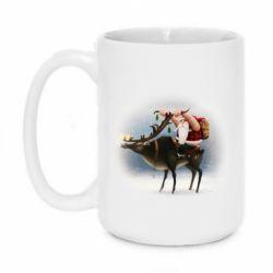 Кружка 420ml Santa in tattoos riding a deer