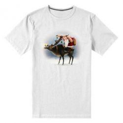Чоловіча стрейчева футболка Santa in tattoos riding a deer