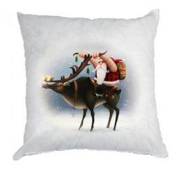 Подушка Santa in tattoos riding a deer