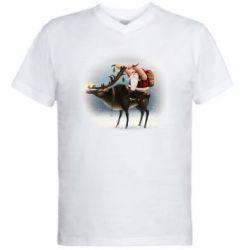 Чоловіча футболка з V-подібним вирізом Santa in tattoos riding a deer