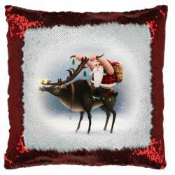 Подушка-хамелеон Santa in tattoos riding a deer