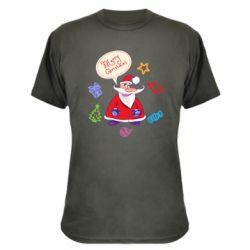Камуфляжная футболка Santa says merry christmas