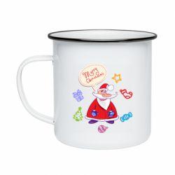 Кружка эмалированная Santa says merry christmas