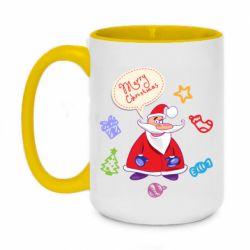 Кружка двухцветная 420ml Santa says merry christmas