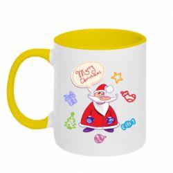 Кружка двухцветная 320ml Santa says merry christmas